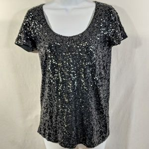 J. Crew Factory Black Sequined T-shirt